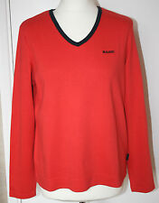 Maine UK16 EU44 new red long-sleeved top in 100% cotton with navy trim