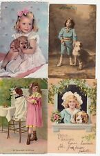 Lot 4 cartes postales anciennes CHIEN enfant DOG child HUND PERRO CANE 1