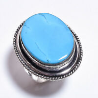 925 Sterling Silver Overlay Ring Size UK Q 1/2, Turquoise Women Jewelry PR949