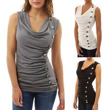 New Women Sleeveless Summer Vest Shirt Blouse Casual Tank Top T-Shirt Button 71V
