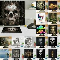 Halloween Horror Skull Shower Curtain Set Waterproof Fabric Bathroom w/12 Hooks