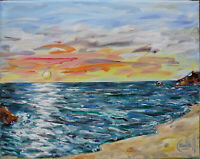canvas SPYGLASS COVE SUNSET 8x10 sunset shore oil painting beach signed CROWELL