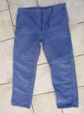 ancien pantalon bleu de travail ouvrier paysan coton 54, french work trousers