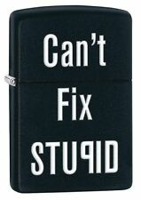 "Zippo ""Can't Fix Stupid"" Black Matte Lighter, Full Size, 28664"