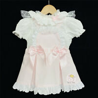 Gorgeous Baby Girl Spanish Pink Waffle Pinafore Dress Suit Collar Shirt with Bow