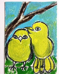 Original ACEO Yellow Birds Painting Miniature Art By Carole Collins