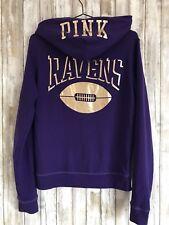 Victoria's Secret Pink * NFL BALTIMORE RAVENS Purple Gold Zip Up Hoodie S RARE!