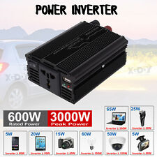 3000W Car Power Inverter DC 12V To AC 110V Modified Sine Wave Converter Black
