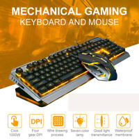Mechanical Gaming Keyboard And Mouse Set RGB LED Wired USB For PC PS4 Xbox One