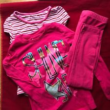 Circo Pink Glitter Tee Faded Glory Striped Shirt with Pink Leggings Size 7/8