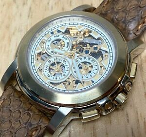 Unbranded Men 20 Jewels Sapphire Golden Skeleton Automatic Self-Wind Watch hour