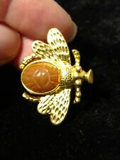 brooch pin marked copy-write Ts Gold tone Scarab stone insect
