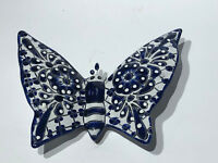 Mexican Folk Art Talavera Pottery Ceramic Wall Butterfly Black & White  9""