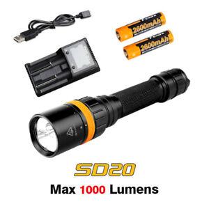 Fenix SD20 Cree XP-L2 U2 LED Scuba Diving Light Flashlight Torch+Battery+Charger