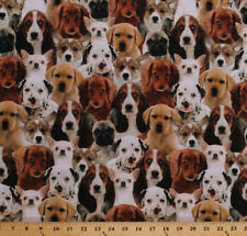 Puppies Puppy Dogs Breeds Animals Pets Cotton Fabric Print by the Yard D370.23