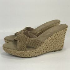 Gap Womens 9M Wedge Heel Espadrille Open Toe Sandals Beige Briaded Fabric Upper