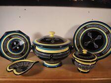 Céramique Vintage 60 Rares 5 pièces de forme QUIMPER H B Perlé Turquoise 1/2