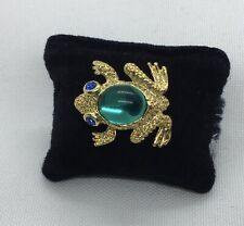 Frog With Stones Lapel Or Tac Pin Green And Blue 1�