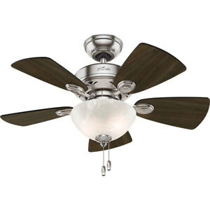 """Hunter Watson 34"""" Indoor Ceiling Fan w/ LED Light and Pull Chain, Brushed Nickel"""