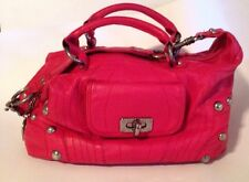 Betsey Johnson Leather Studded Large Shoulder Bag Handles Red Betsy