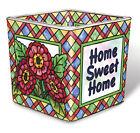 Home Sweet Home Tea Light Candle Holder Votive Hand Painted Glass AMIA Flowers