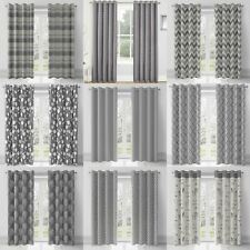 Grey Eyelet Curtains Charcoal Silver Ready Made Ring Top Curtain Pairs