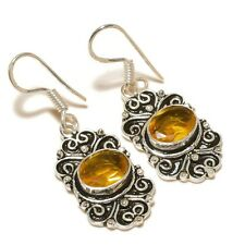 Faceted Citrine Oval Gemstone silver plated Handmade Designer Oxidized Earrings