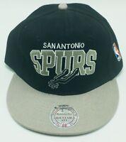 San Antonio Spurs NBA Mitchell & Ness Mens Snapback Black Gray Hat Cap