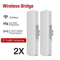 2x 300Mbps WIFI Outdoor Wireless Bridge Router 2.4Ghz WIFI Signal Booster 1 Pair