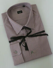 Paul Smith Shirt Size 16.5 LARGE SLIM FIT Stripes Burgundy