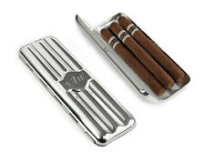 Personlised Silver Plated Triple Cigar Holder Case - Can Be Engraved