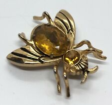 Vintage Brooch Pin Bee Coro Glass Crystal Rhinestone