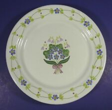 """Vintage Porta MM Portugal Redware 9 5/8"""" Plate Forget Me Not Lily of the Valley"""