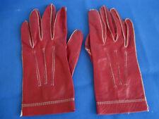 Ladies Banana Republic burgundy w white stitching soft leather gloves -Size 7