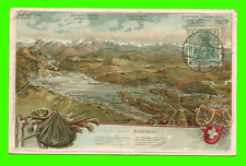 Bodensee, Konstanz - Litho Prägekarte, Wappen, Alpen Panorama gel. 1908