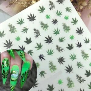 Weed Leaf Nail Stickers Pot Cannabis Marijuana Pothead Decal Adhesive Manicure