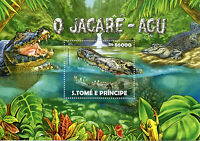 Sao Tome & Principe 2015 MNH Black Caiman 1v S/S Reptiles Crocodiles Jacaré-açu