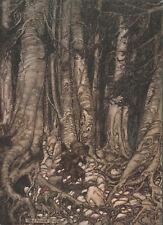 Man Carries Keg Goblin Gully Rip Van Winkle Arthur Rackham 1905 Tipped-In Print