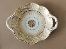 """George Jones & Sons """"Crescent"""", Cream and Gold with Floral Design Antique Dish"""
