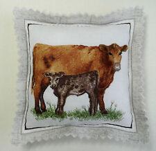 Handmade pin cushion. A Cow and her calf. 9cm x 9cm.
