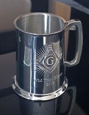 MASONIC LOGO PEWTER TANKARD 1 Pint Mason Logo UK Made PERSONALISED GIFT