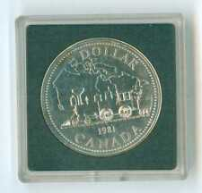 1981 CANADA UNCIRCULATED SILVER DOLLAR .500 FINE SILVER LOW MINTAGE TRAIN