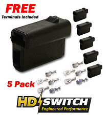 (5 Pack) Delphi 56 Series Metri-Pack 2-Way Female Connector 2973781 w/TERMINALS