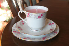 Teacup candle trio, china pretty pink flowers grey leaves, rose scented pink wax