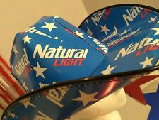 🍻2021 Patriotic NATURAL LIGHT Cowboy~girl HAT Beer Box OSFM Anheuser Busch NEW