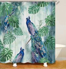 Shower Curtains Peacock tropical green leaves art waterproof 12 Hooks 71*71inc