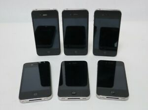 Bundle of 6x Apple iPhone 4 Black All Unlocked No Charging Cable