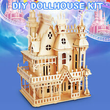 DIY Wooden Doll House Handcraft Miniature Castle Kit Educational Toy Kids Gift