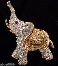 Signed Swan Swarovski Pave  Elephant Gold Plated Brooch Pin