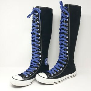 Converse All Star Chuck Taylor Black Tall Knee High Lace Up Zip Mens 6 Womens 8